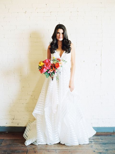 Whimsical Preppy Bridal Style with a Striped Wedding Dress