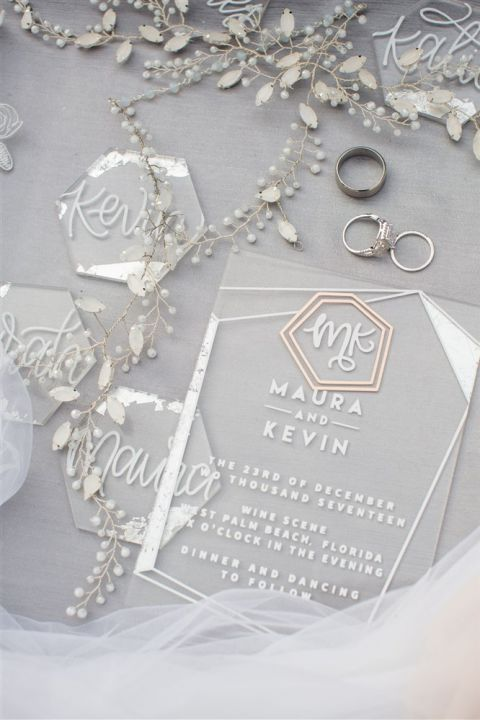 Modern Silver Leaf and Acrylic Wedding Stationery Suite