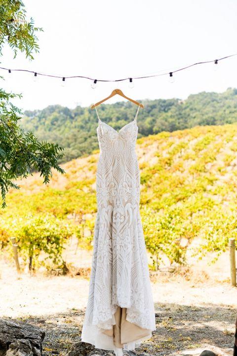 Vintage Glam Sequin Wedding Dress