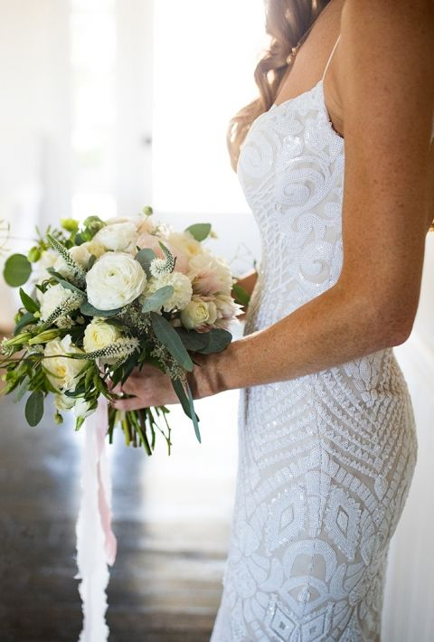 Nude Sequin Wedding Dress with a Natural Green and White Bouquet