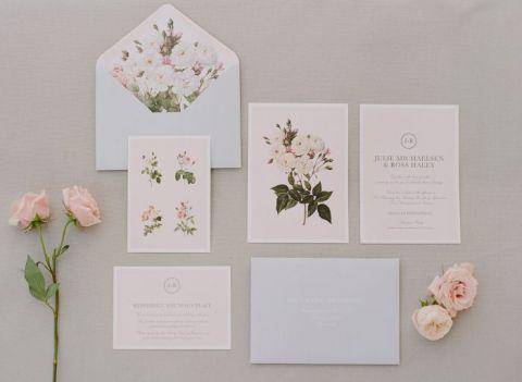 Blush and Blue Botanical Print Invitations