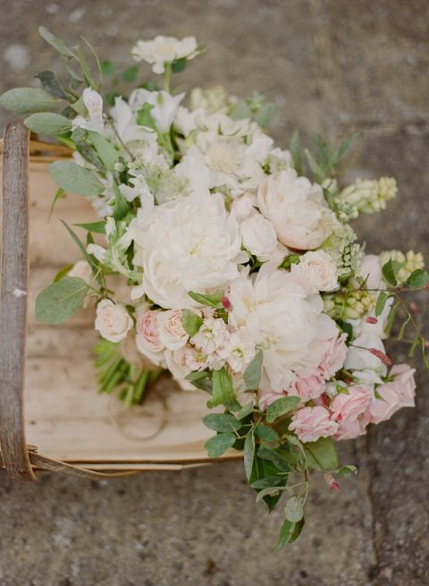 Country Garden Bouquet with Peonies and Roses