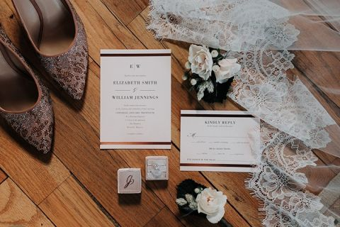 Lovely Wedding Invitation Suite with the Brides Lace Veil