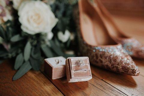 Blush Velvet Box for an Oval Halo Engagement Ring