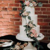 Buttercream Wedding Cake with Blush Flowers