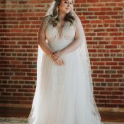 Luxe Boho Bridal Style with a Blush Lace Wedding Dress