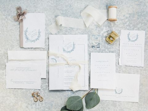 Blue Wedding Invitations with a Subtle Crest