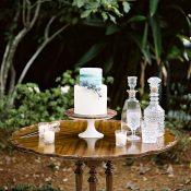 Vintage Wedding Cake Table with Cut Crystal Decor
