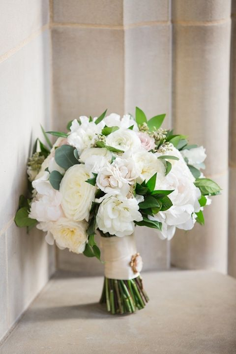 Timeless White Bouquet with an Heirloom Cameo