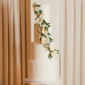 Lace Inspired Wedding Cake with Cascading Flowers