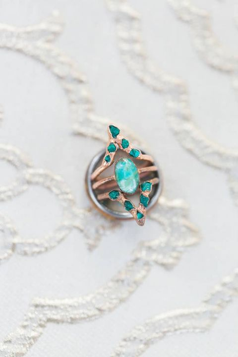 Glam Geometric Wedding in Gold and Turquoise