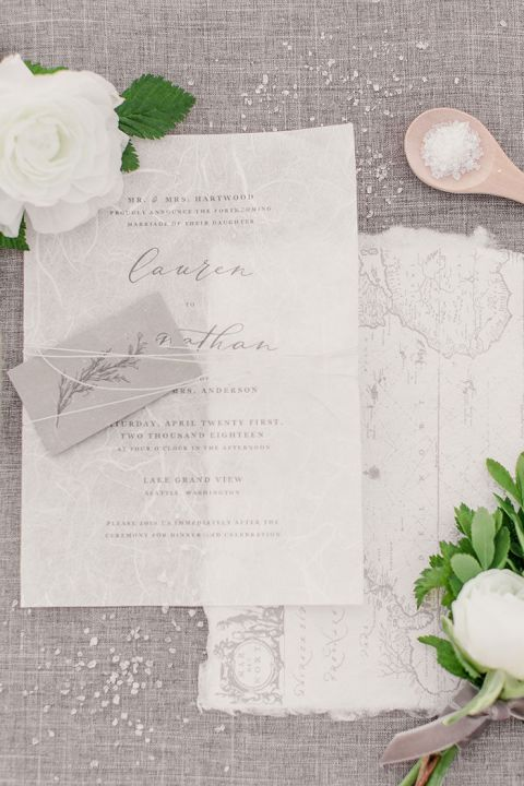 Gray and White Wedding Invitations inspired by the Pacific Northwest