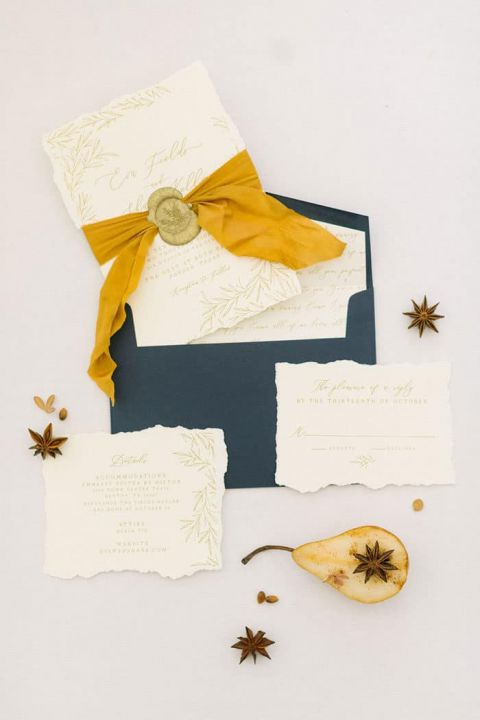 Blue and Gold Autumn Wedding Invitations