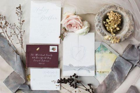 Gray and Burgundy Winter Wedding Invitations