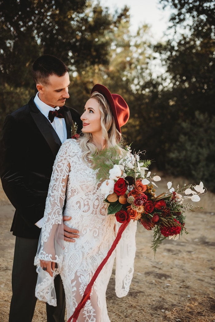 Southern California Chic Elopement in Burgundy, Black, and Gold