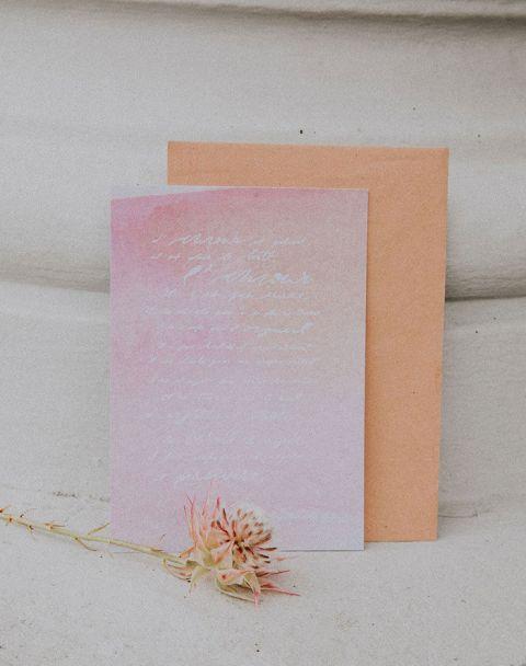 Blush and White Calligraphy Wedding Stationery