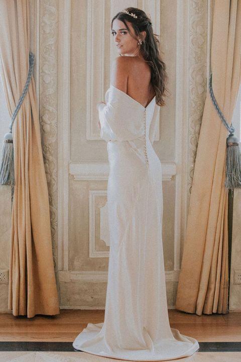 Silk Off the Shoulder Wedding Dress