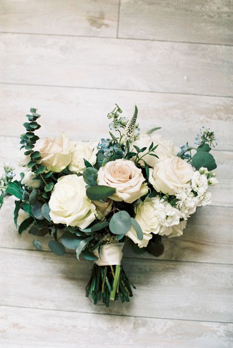 Greenery and Blush Bouquet with a Hint of Blue