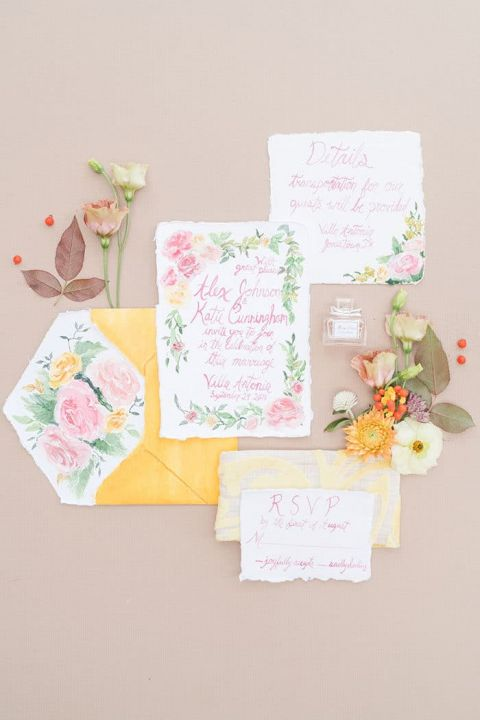 Colorful Living Coral and Gold Invitation Suite