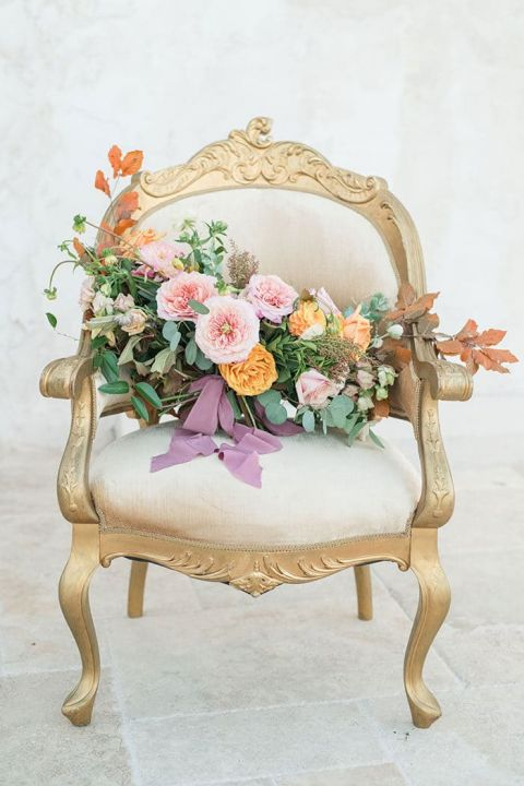 Colorful Living Coral and Gold Bouquet