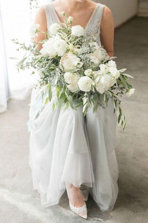 Dreamy Gray Wedding Dress with a Dreamy Summer Wedding Bouquet