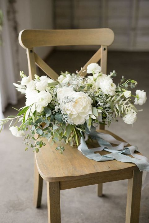 White Peony and Rose Bouquet with Summer Greenery