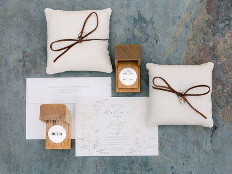 Metallic Botanical Print Wedding Invitations with Modern Wood Accents