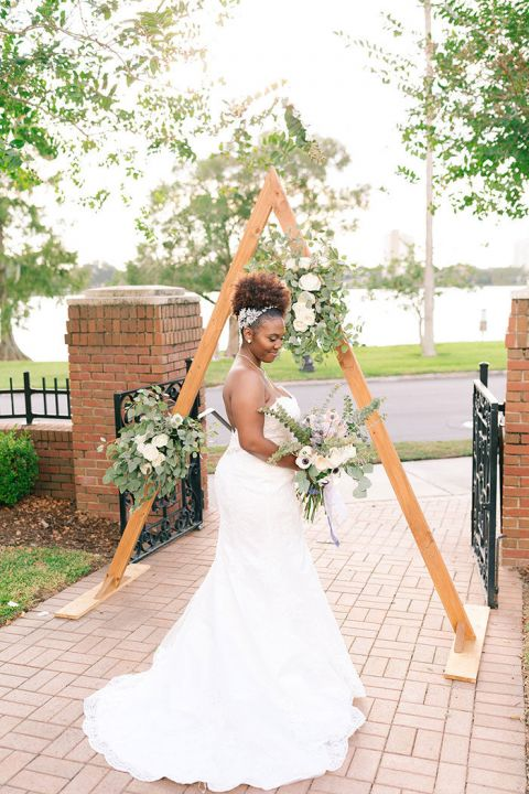 Modern Geometric Ceremony Backdrop inspired by the Bride's Love of Farmhouse Decor