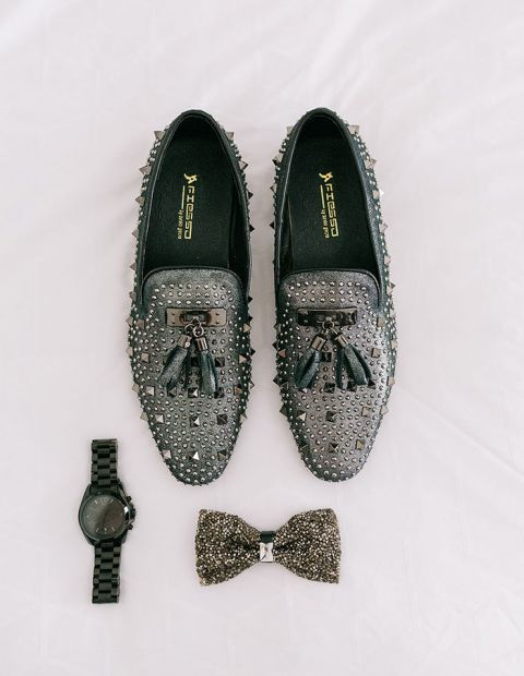 Metallic Stud and Silver Sparkle Groom's Accessories