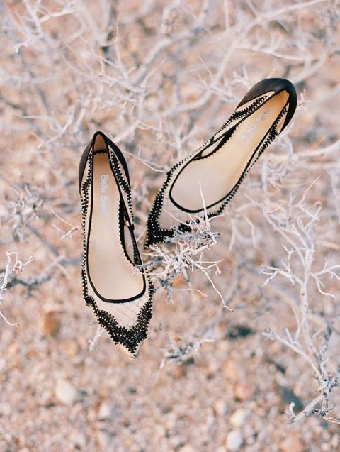 Chic Black and Nude Heels for a Modern Boho Elopement in the Desert