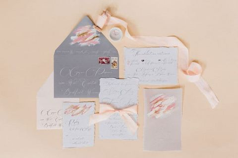 Peach and Gray Invitation Suite with Hand Painted Details