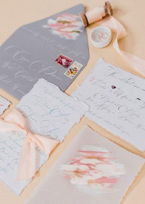 Artistic Brush Stroke Wedding Stationery