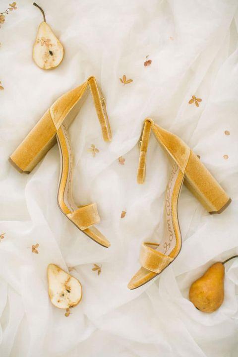 Gold Velvet Block Heels