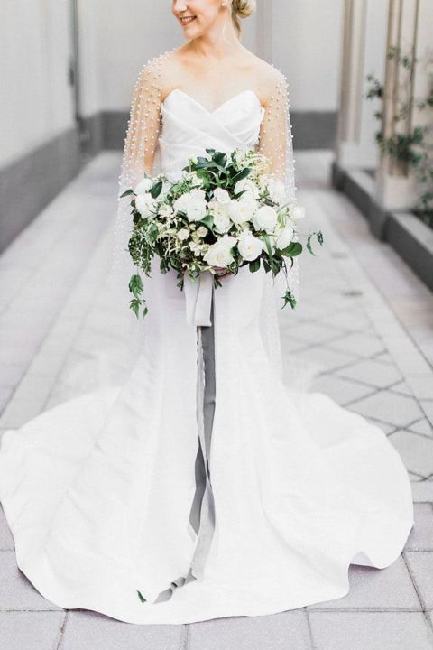 White, Greenery, and Pearl Gray Bridal Bouquet