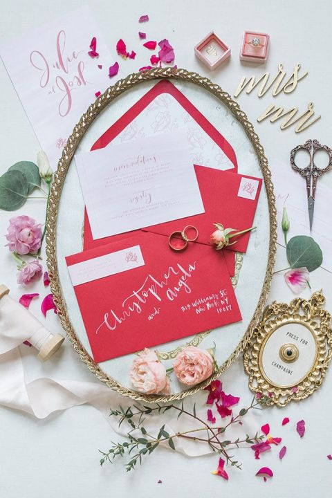 Red and White Ink Invitations