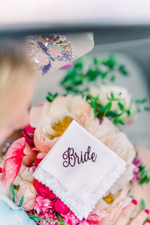 Embroidered Handkerchief for a Bridal Keepsake