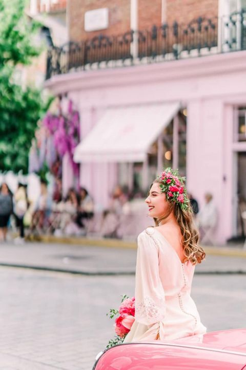 Pretty in Pink Retro London Engagement Photos