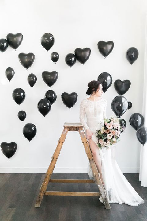 Modern Balloon Backdrop for Moody Bridal Portrait Session