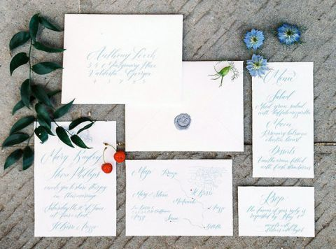 Elegant Blue and White Lettered Invitations for a Luxury Elopement in Tuscany