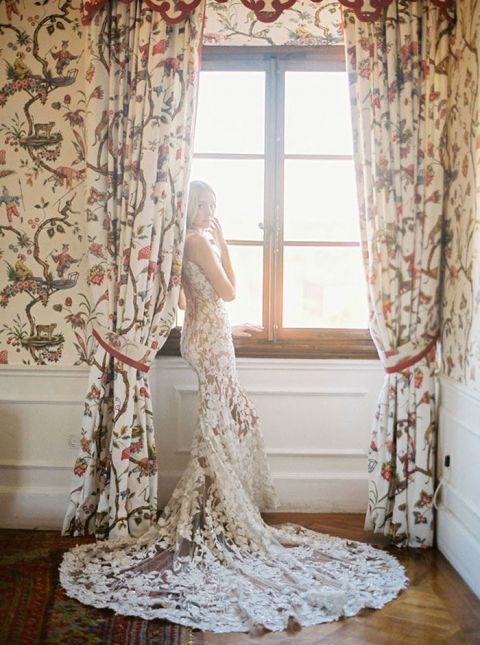 Nude Lace Couture Wedding Dress for a Luxury Elopement in Tuscany