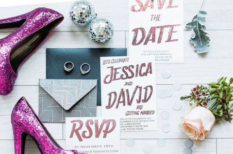 80s Inspired Silver and Coral Invitations