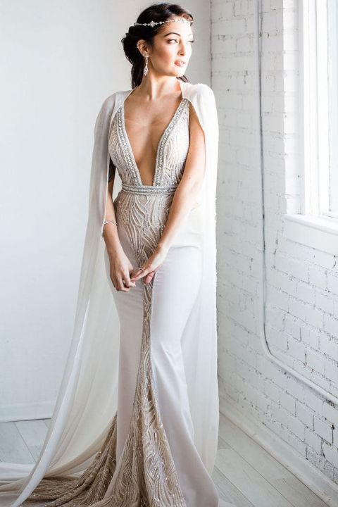 Silver Shimmer Wedding Dress with a Cape