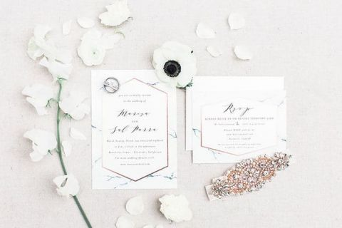 Rose Gold and Marble Invitations for a Modern Minimalist Wedding