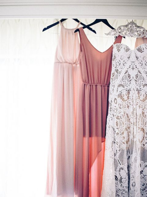 Mismatched Mauve and Blush Bridesmaid Dresses with a Nude Lace Rue de Seine Wedding Dress