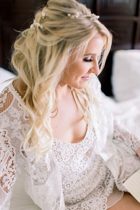 Bride in a Lace Getting Ready Robe