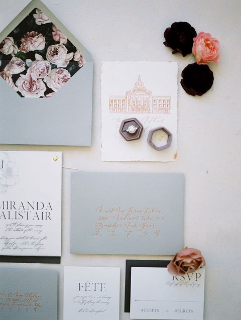 Gray, Mauve, and Lavender Wedding Invitations