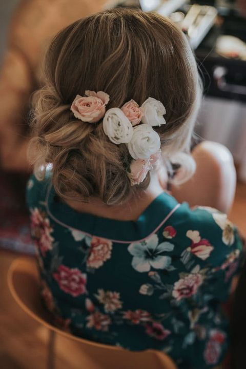 Floral Updo for a Destination Romance Wedding