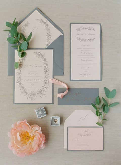 Coral and Gray Luxury Elopement in the Italian Countryside