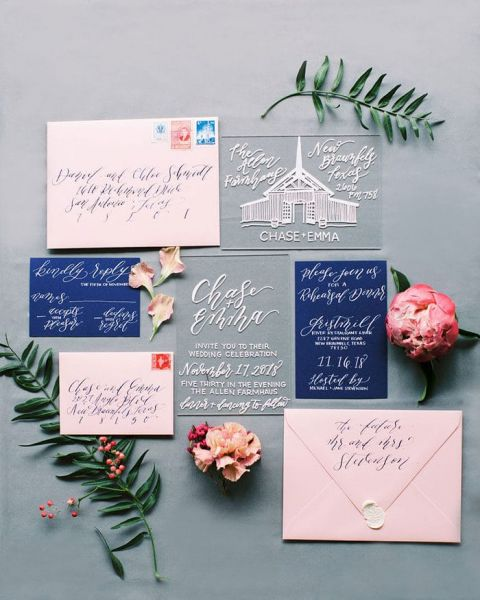 Pink and Blue Invitations with White Ink on Acrylic
