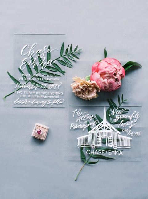 Modern White Ink on Acrylic Invitations